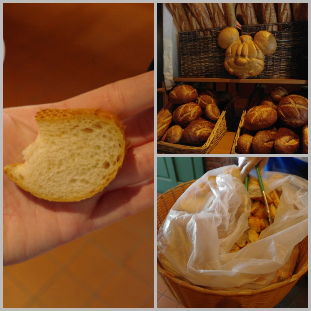 Samples of sourdough bread in Disneyland, including a Mickey head shaped one