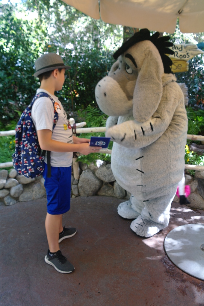 Boy is getting Eeyore's autograph in Disneyland